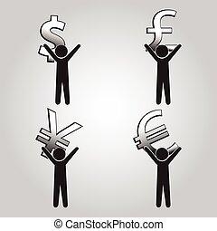 argent, porter, homme, signe