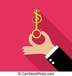 argent, prise, clã©, main