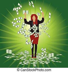 argent, prises, affaires femme