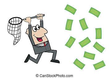 argent, prises, homme affaires