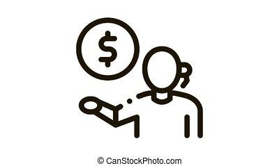 argent, problèmes, animation, icône