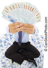 argent, projection, homme, business, heureux