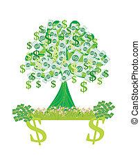 argent, résumé, -, arbres, croissant, carte