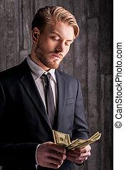 argent, riche, jeune, handsome., beau, homme, dénombrement, formalwear