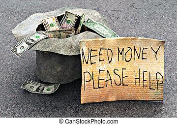 argent, rue, chapeau, beggar's