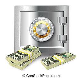 argent, sûr, concept, pile
