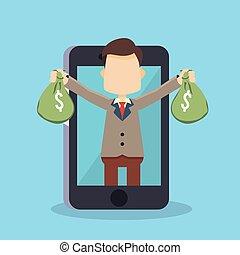 argent, sac, homme affaires