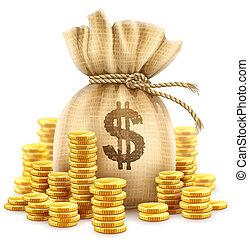 argent, sac, illustration., pièces., or, espèces, entiers