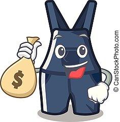 argent, salopette, mascotte, isolé, sac