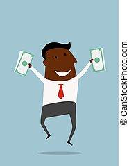 argent, sauter, heureux, homme affaires