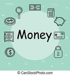 argent, sauver, ensemble, icônes