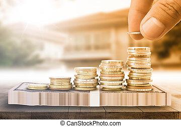 argent, sauver, pile, monnaie