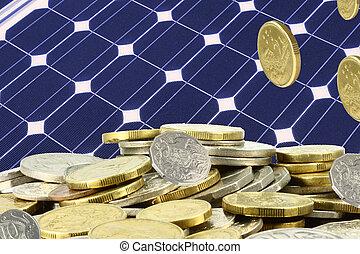 argent, sauver, tas, solaire