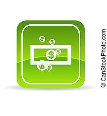 argent, sauver, vert, icône