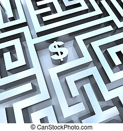 argent, -, signe dollar, milieu, labyrinthe