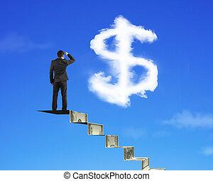 argent, signe dollar, regarder, forme, homme affaires, escalier, nuage
