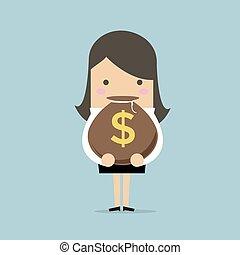 argent, signe., dollar, sac, tenue, femme affaires