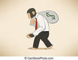 argent, singe, sac