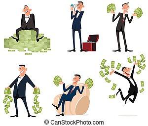 argent, six, hommes affaires