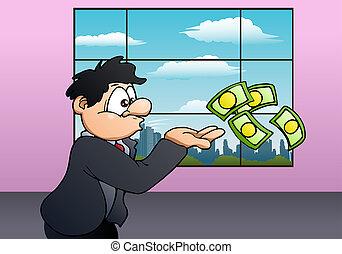argent, souffler, homme