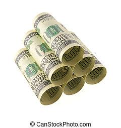 argent, stockage, tas