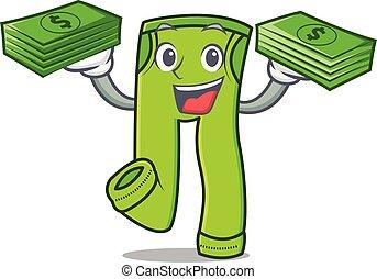 argent, style, caractère, dessin animé, pantalon