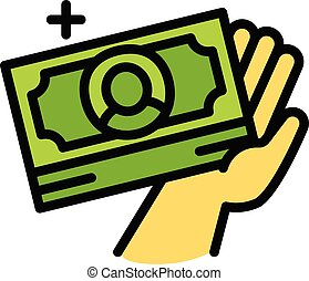 argent, style, espèces, icône, prendre, contour