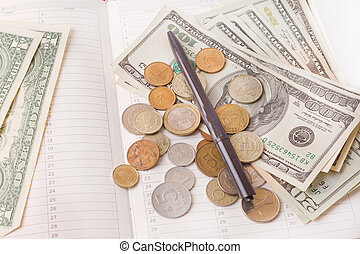 argent, stylo, agenda, isolé