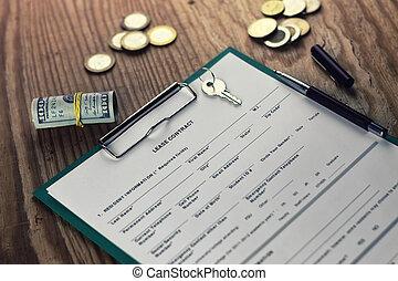 argent, stylo, contrat, clã©, bail