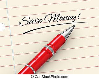 argent, -, stylo, papier, sauver, 3d