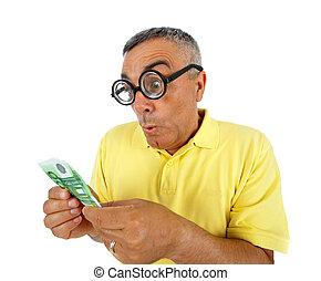 argent, super, homme, surpris, expression.