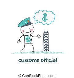 argent, sur, douane, pense, officier