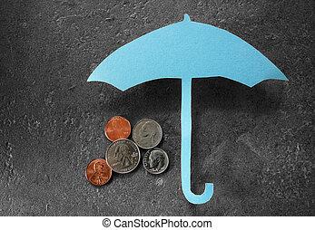 argent, sur, parapluie