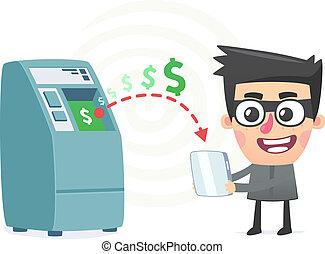 argent, technologie moderne, vol, utilisation