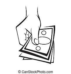 argent, tenant main