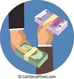 argent, tenant mains