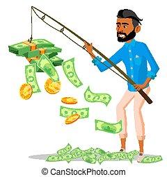 argent, tige, isolé, illustration, chanceux, tas, peche, vector., mains, homme affaires