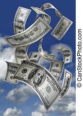 argent tombant, factures, $100