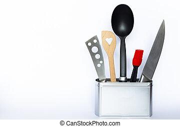 argent, ustensiles, cuisine, coloré, boîte, métal