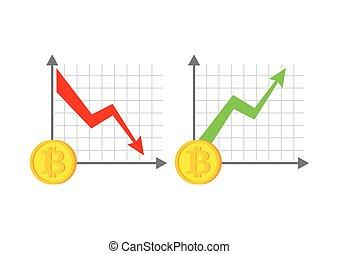 argent., vecteur, cryptocurrency., graph., bitcoin, croissance, automne, virtuel, illustration
