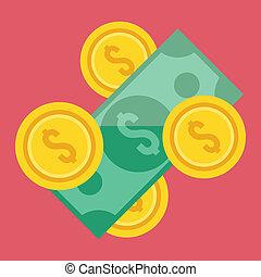 argent, vecteur, icône