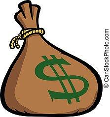 argent, vecteur, illustration, sac