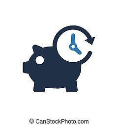 argent, vecteur, porcin, temps, icon., banque