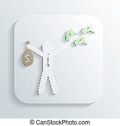 argent, vecteur, sac, homme, icône