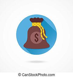 argent, vecteur, sac, icône