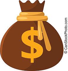 argent, vecteur, sac, plat, icône