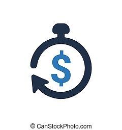argent, vecteur, temps, icône