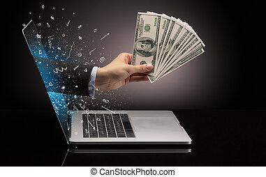 argent, venir, main, ordinateur portable, dehors