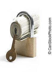 argent, verrouillé, clã©, tout