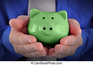 argent, vert, tirelire